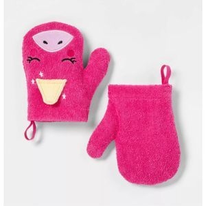 Unicorn Bath Mitts 100% Cotton Hot Pink Kids